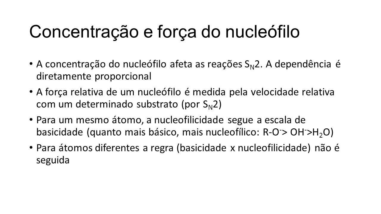 Concentração e força do nucleófilo