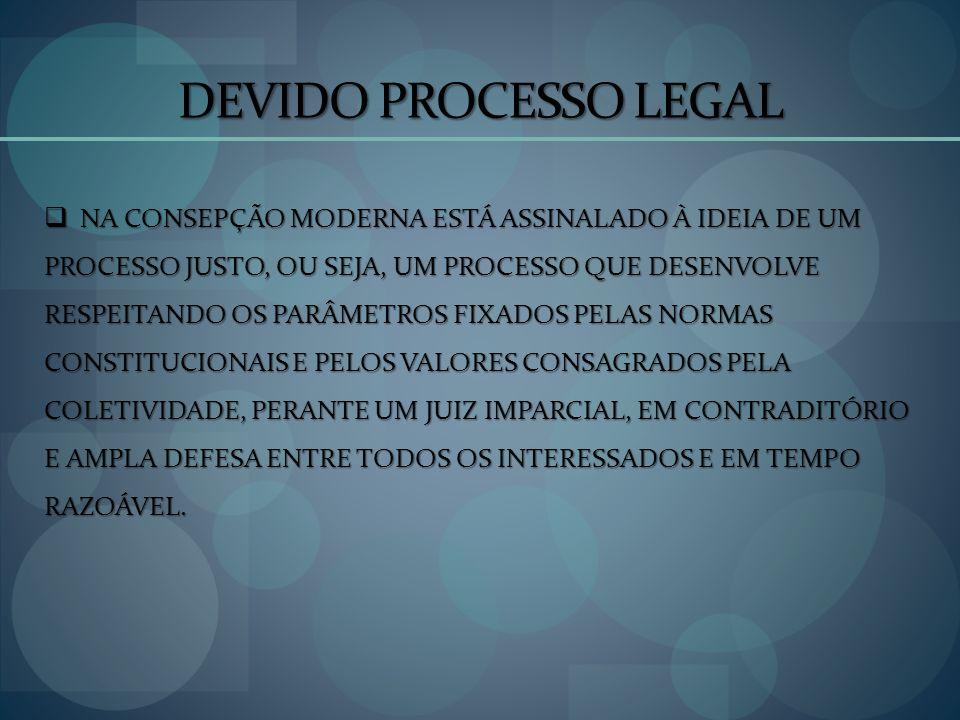 DEVIDO PROCESSO LEGAL NA CONSEPÇÃO MODERNA ESTÁ ASSINALADO À IDEIA DE UM. PROCESSO JUSTO, OU SEJA, UM PROCESSO QUE DESENVOLVE.