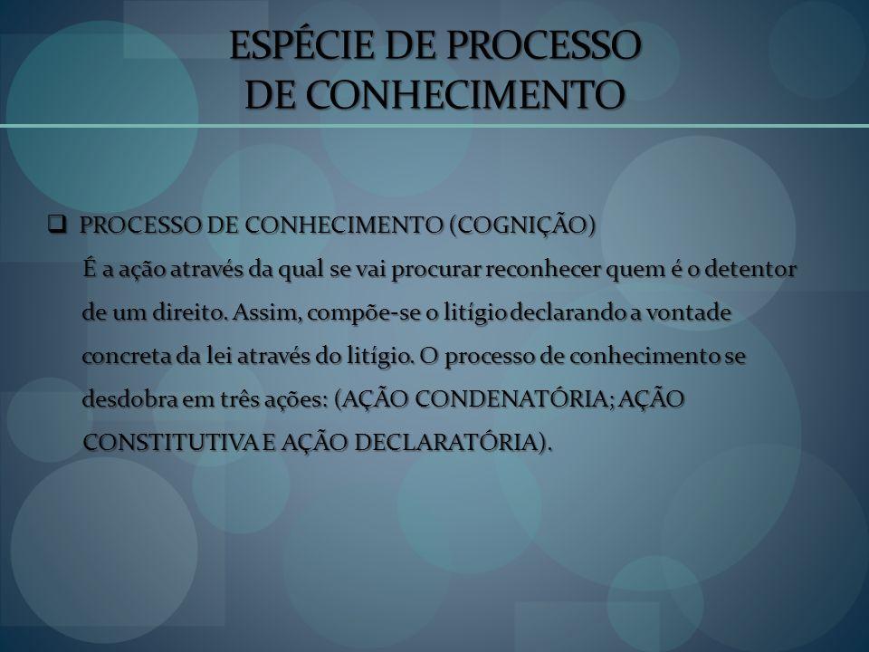 ESPÉCIE DE PROCESSO DE CONHECIMENTO
