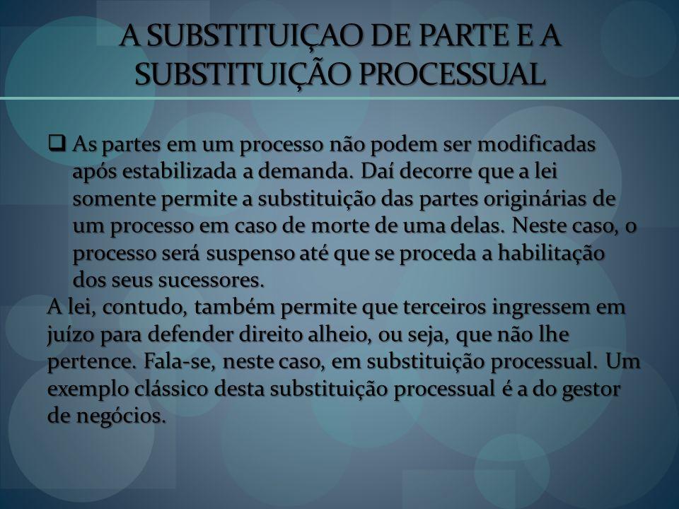 A SUBSTITUIÇAO DE PARTE E A SUBSTITUIÇÃO PROCESSUAL