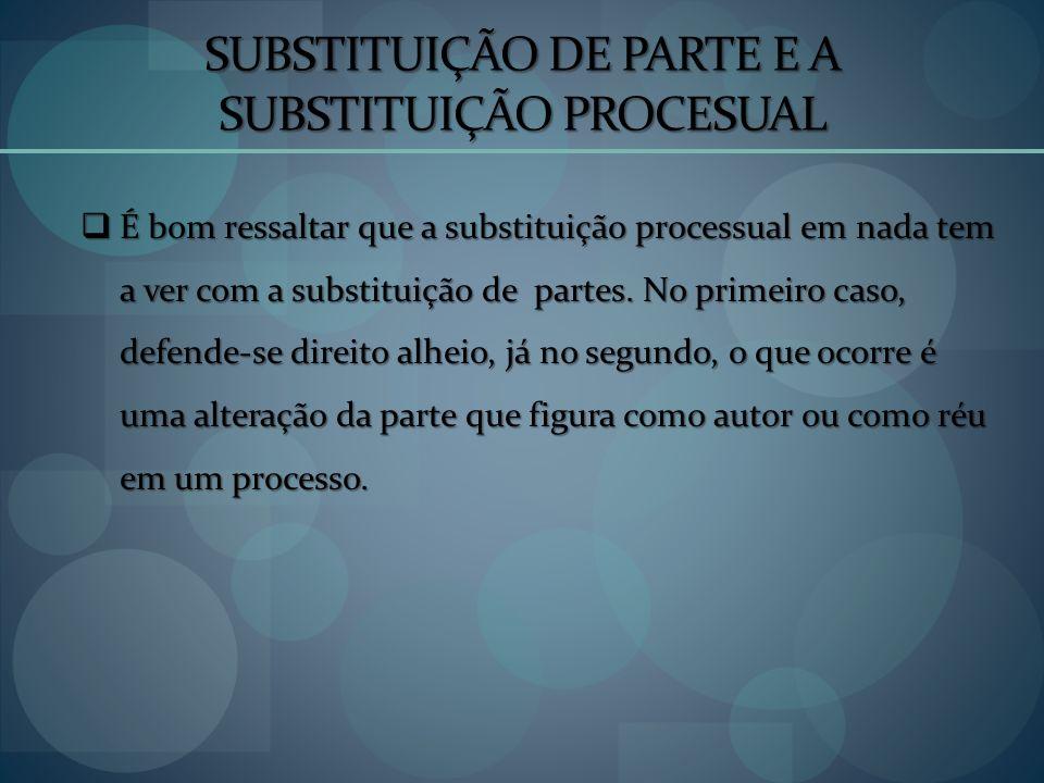 SUBSTITUIÇÃO DE PARTE E A SUBSTITUIÇÃO PROCESUAL
