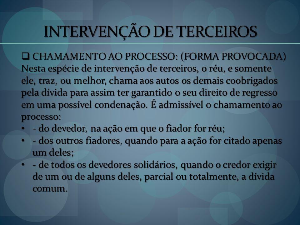 INTERVENÇÃO DE TERCEIROS
