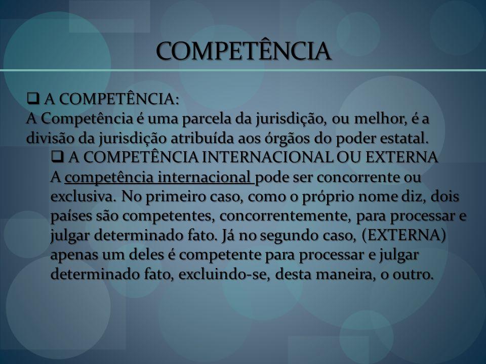 COMPETÊNCIA A COMPETÊNCIA: