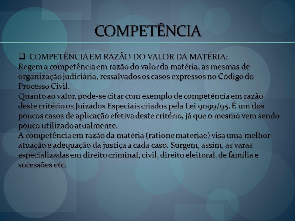 COMPETÊNCIA COMPETÊNCIA EM RAZÃO DO VALOR DA MATÉRIA: