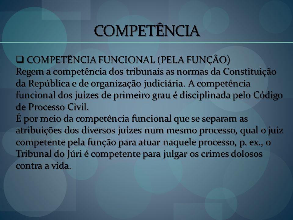 COMPETÊNCIA COMPETÊNCIA FUNCIONAL (PELA FUNÇÃO)