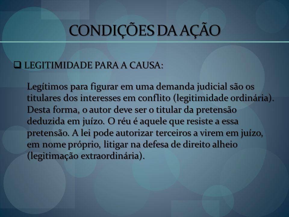 CONDIÇÕES DA AÇÃO LEGITIMIDADE PARA A CAUSA:
