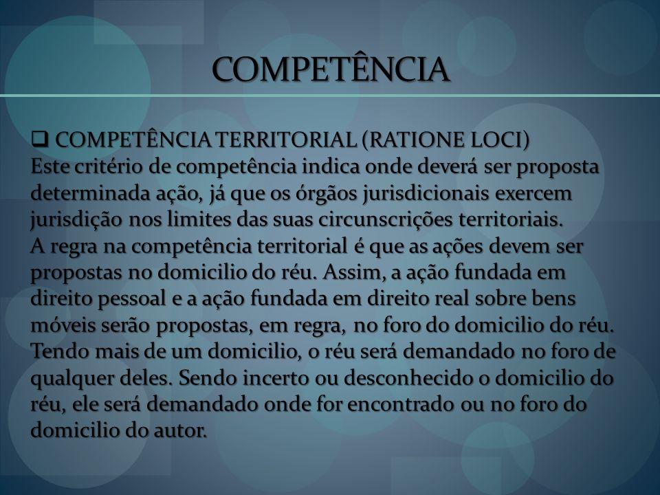 COMPETÊNCIA COMPETÊNCIA TERRITORIAL (RATIONE LOCI)