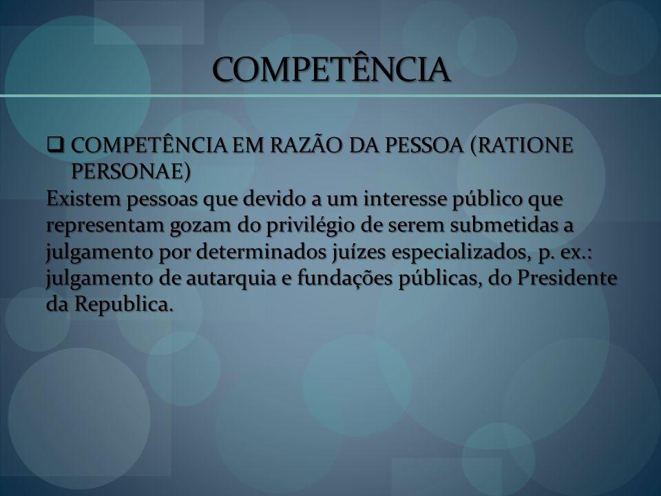 COMPETÊNCIA COMPETÊNCIA EM RAZÃO DA PESSOA (RATIONE PERSONAE)