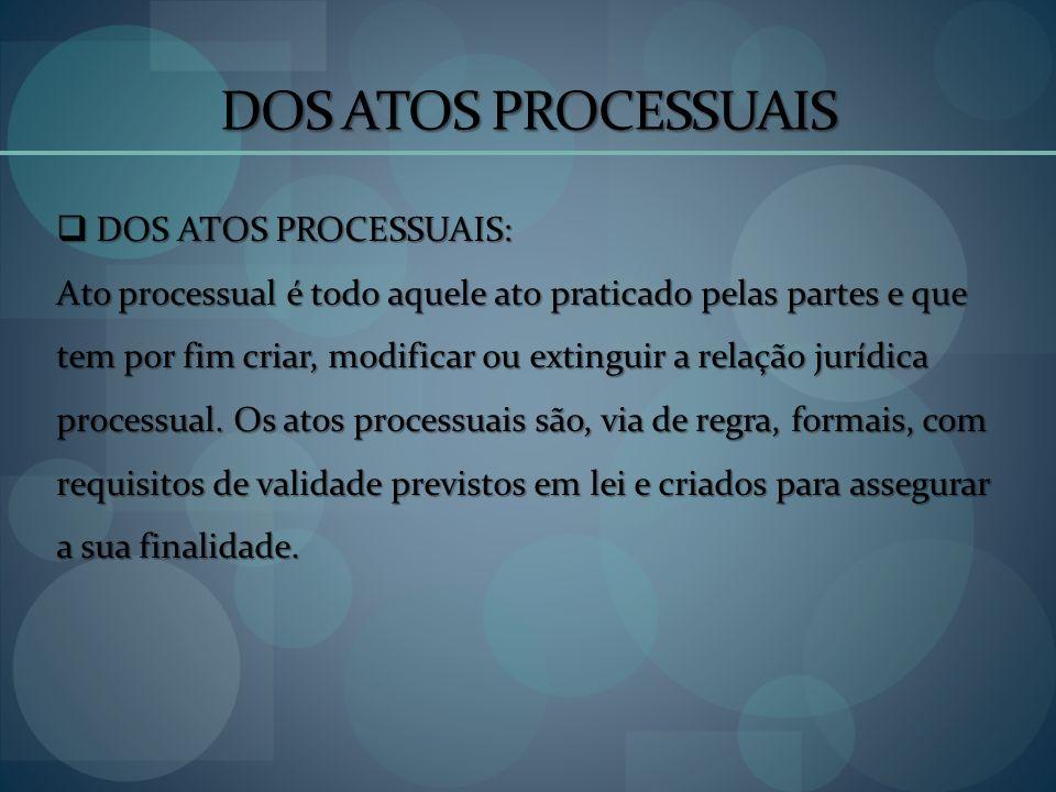 DOS ATOS PROCESSUAIS DOS ATOS PROCESSUAIS: