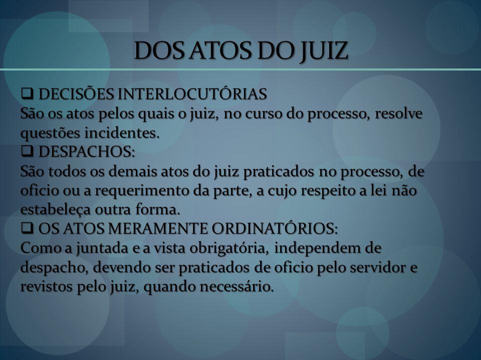 DOS ATOS DO JUIZ DECISÕES INTERLOCUTÓRIAS