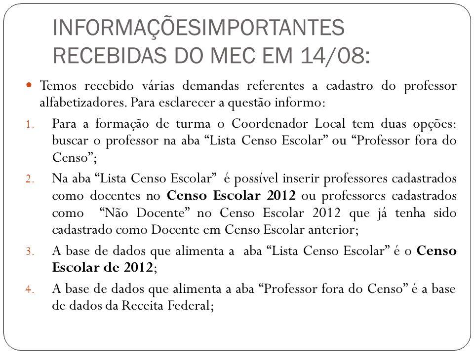 INFORMAÇÕESIMPORTANTES RECEBIDAS DO MEC EM 14/08: