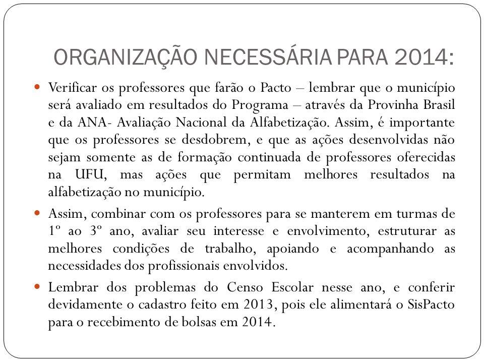 ORGANIZAÇÃO NECESSÁRIA PARA 2014: