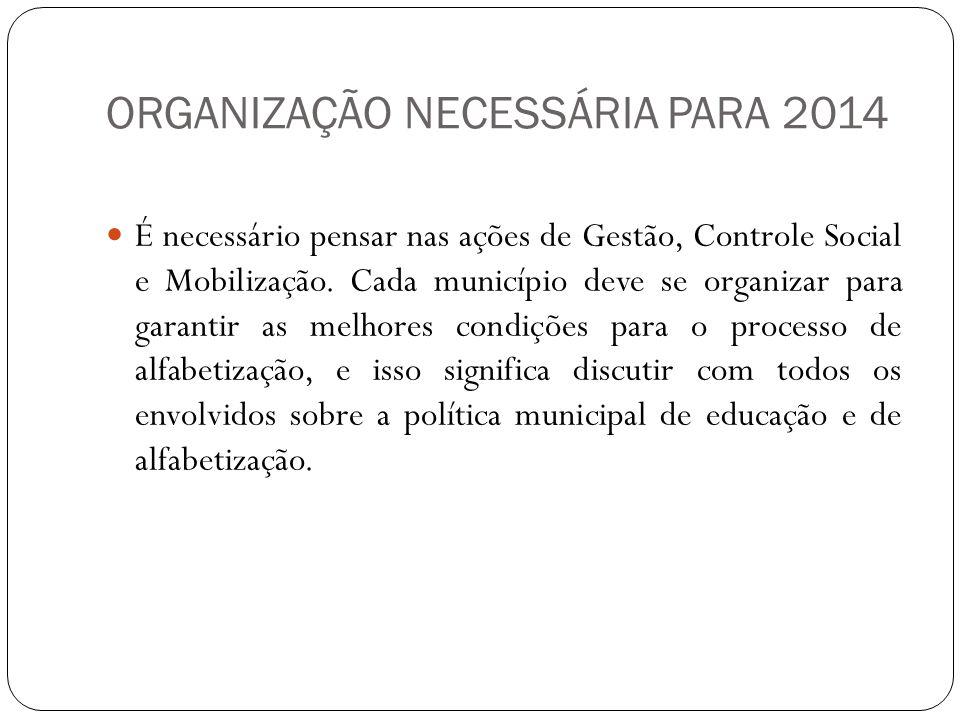 ORGANIZAÇÃO NECESSÁRIA PARA 2014