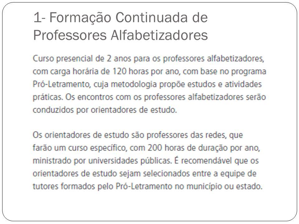 1- Formação Continuada de Professores Alfabetizadores
