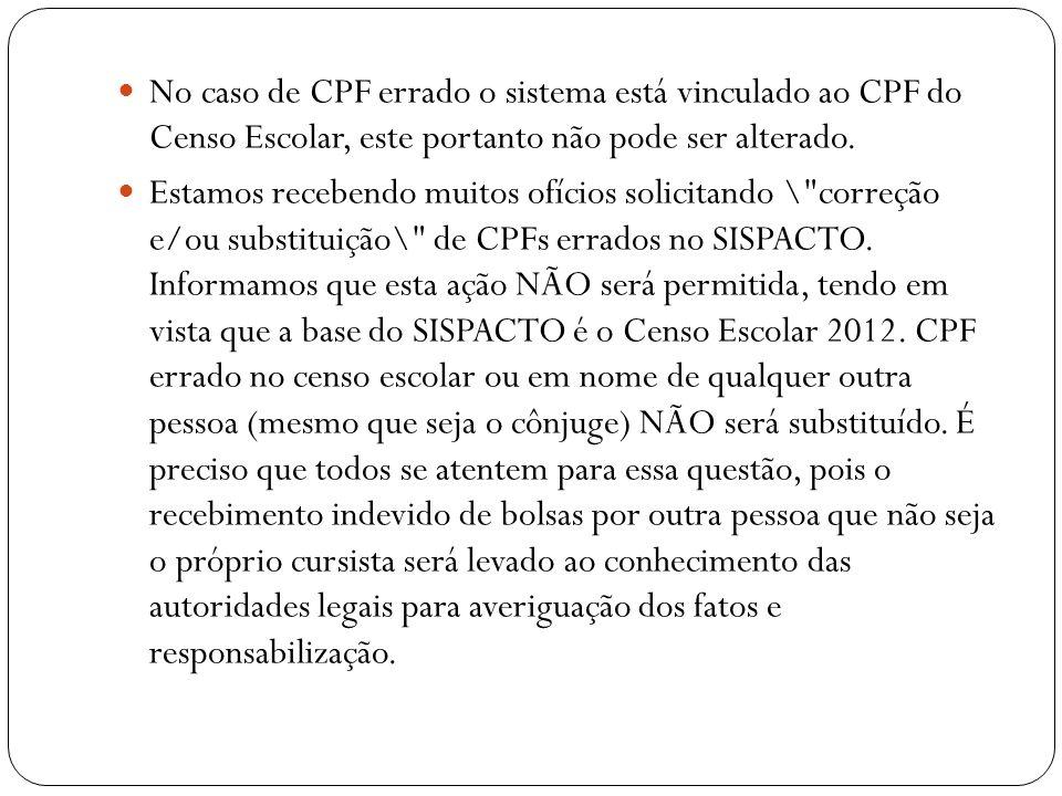 No caso de CPF errado o sistema está vinculado ao CPF do Censo Escolar, este portanto não pode ser alterado.