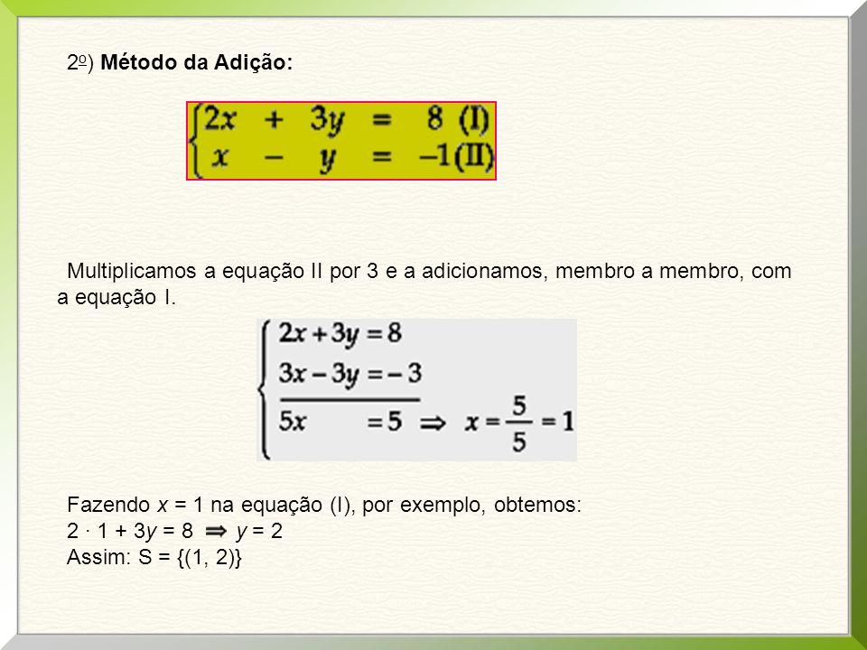 2o) Método da Adição: Multiplicamos a equação II por 3 e a adicionamos, membro a membro, com a equação I.