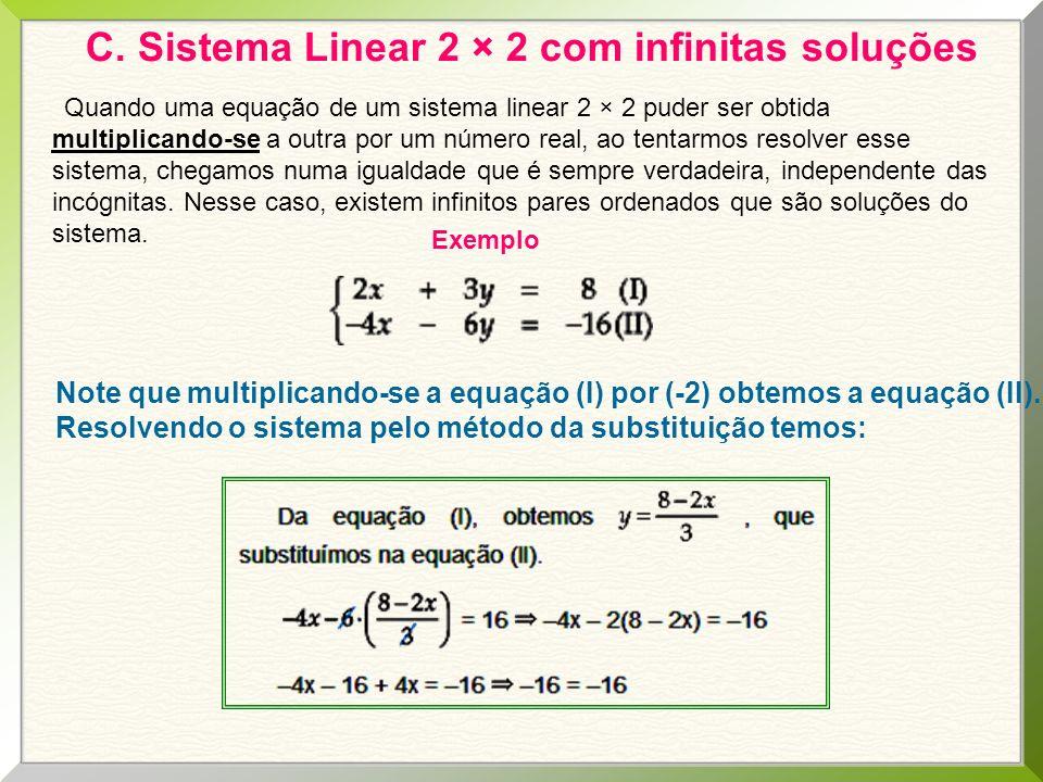 C. Sistema Linear 2 × 2 com infinitas soluções