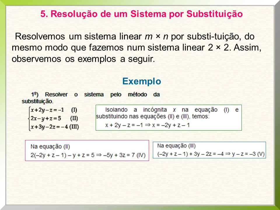 5. Resolução de um Sistema por Substituição