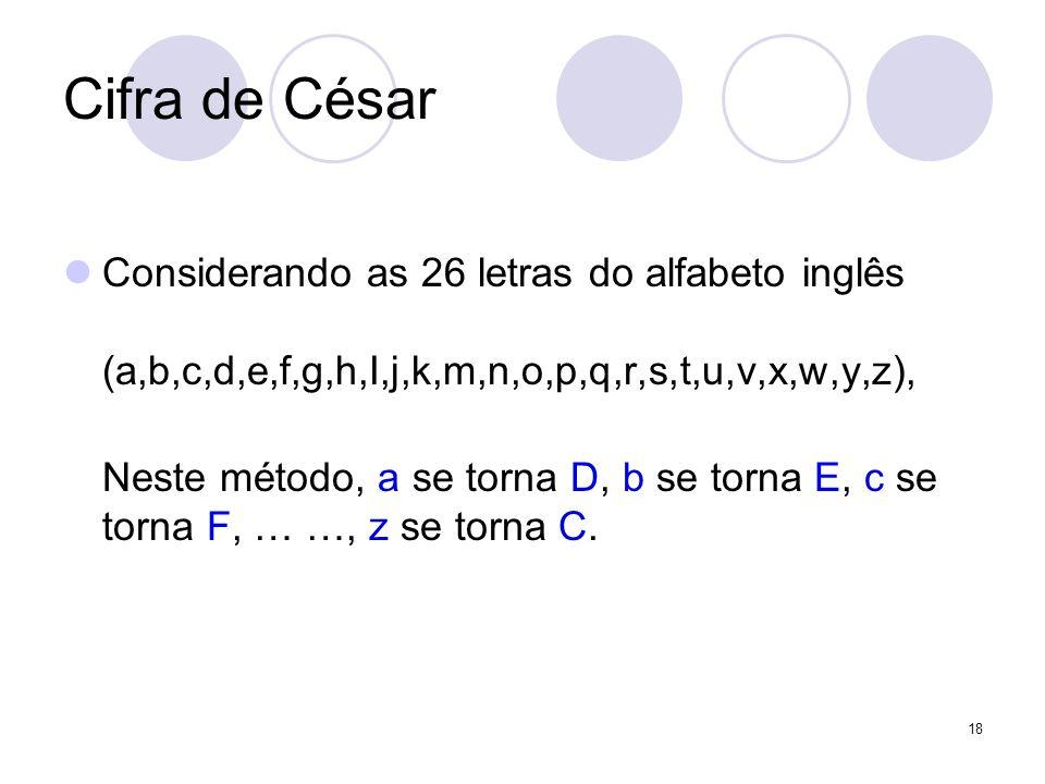 Cifra de César Considerando as 26 letras do alfabeto inglês (a,b,c,d,e,f,g,h,I,j,k,m,n,o,p,q,r,s,t,u,v,x,w,y,z),