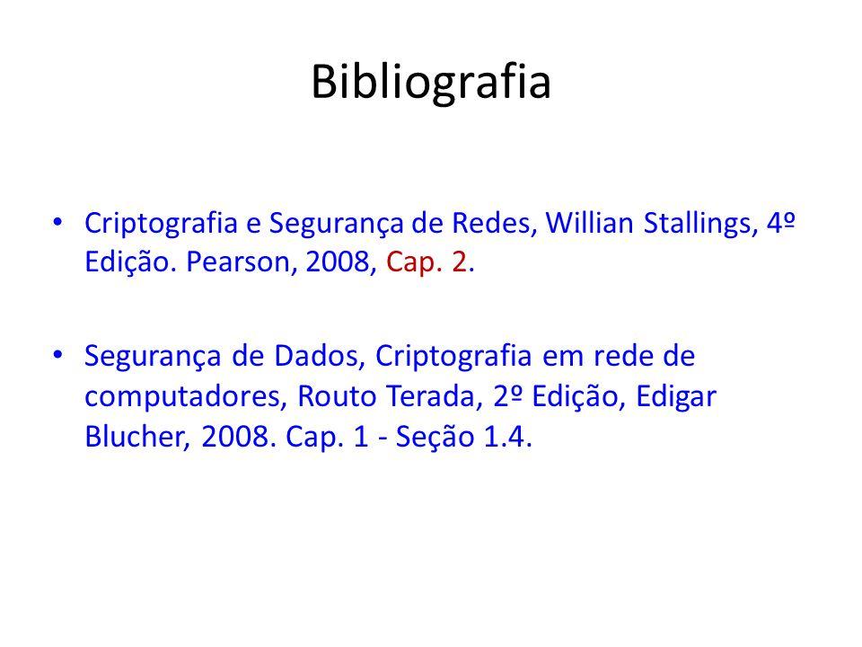 Bibliografia Criptografia e Segurança de Redes, Willian Stallings, 4º Edição. Pearson, 2008, Cap. 2.