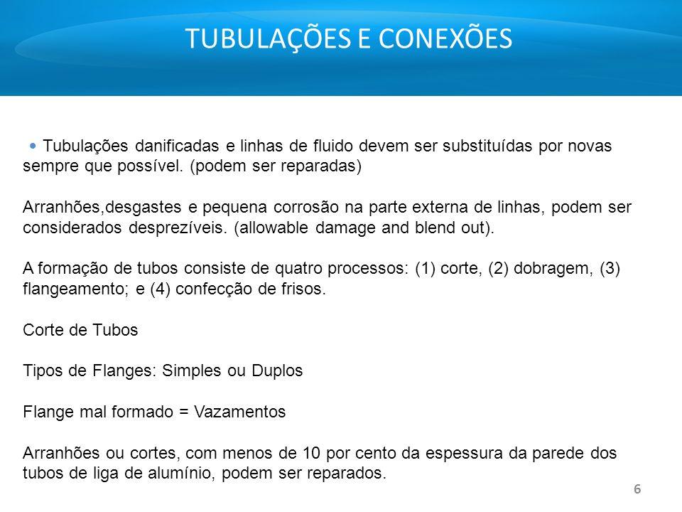 TUBULAÇÕES E CONEXÕES • Tubulações danificadas e linhas de fluido devem ser substituídas por novas sempre que possível. (podem ser reparadas)