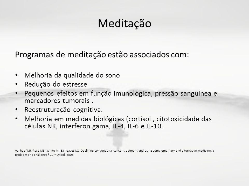 Meditação Programas de meditação estão associados com: