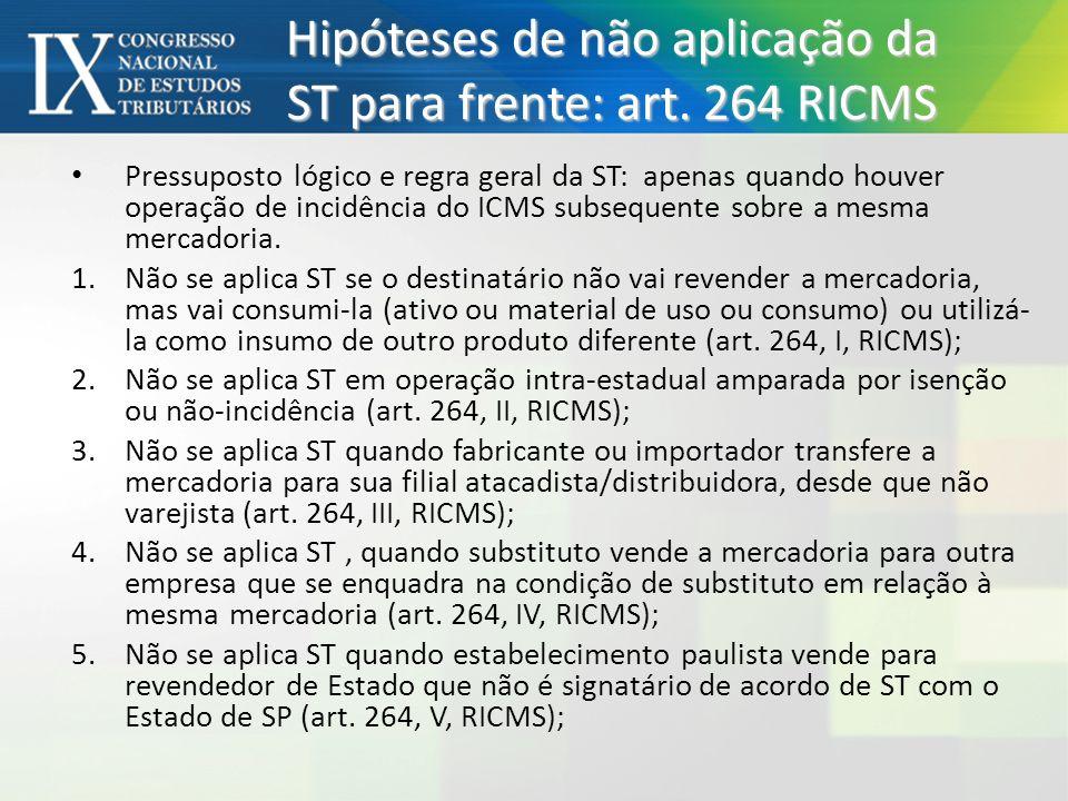 Hipóteses de não aplicação da ST para frente: art. 264 RICMS