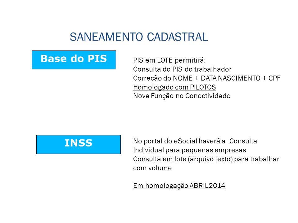 SANEAMENTO CADASTRAL Base do PIS INSS PIS em LOTE permitirá: