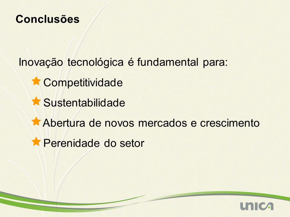 Conclusões Inovação tecnológica é fundamental para: Competitividade. Sustentabilidade. Abertura de novos mercados e crescimento.