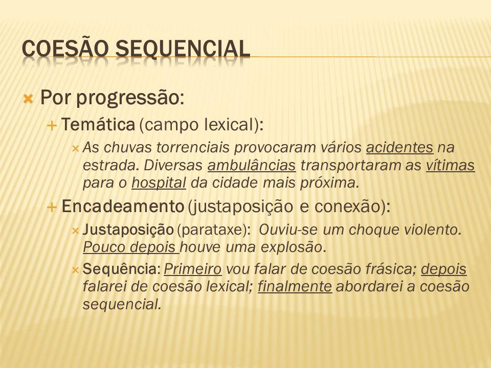 Coesão sequencial Por progressão: Temática (campo lexical):