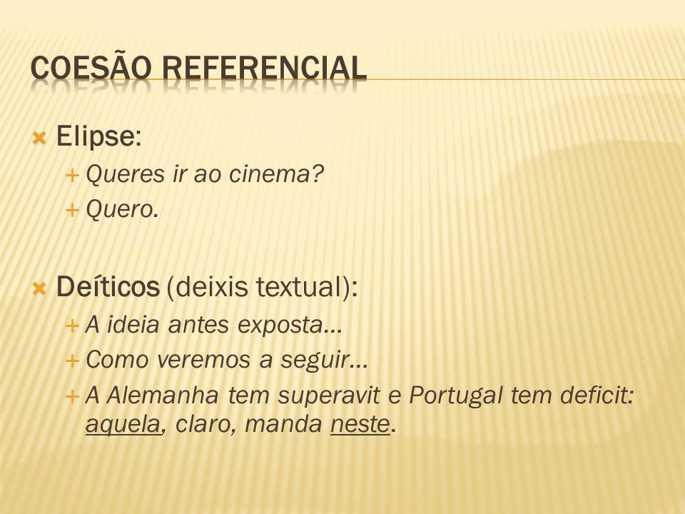 Coesão referencial Elipse: Deíticos (deixis textual):