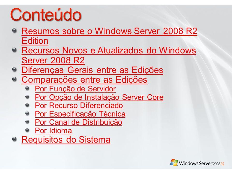 Conteúdo Resumos sobre o Windows Server 2008 R2 Edition