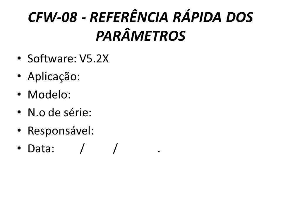 CFW-08 - REFERÊNCIA RÁPIDA DOS PARÂMETROS