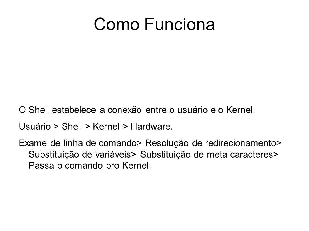 Como Funciona O Shell estabelece a conexão entre o usuário e o Kernel.