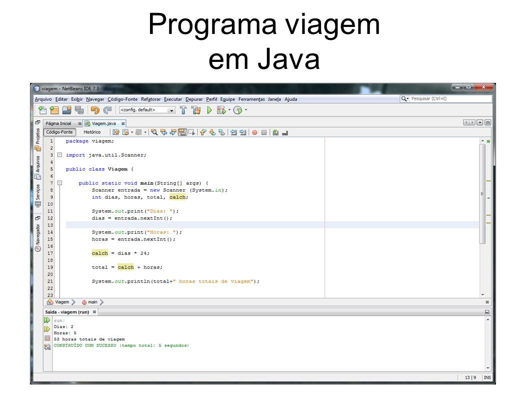 Programa viagem em Java