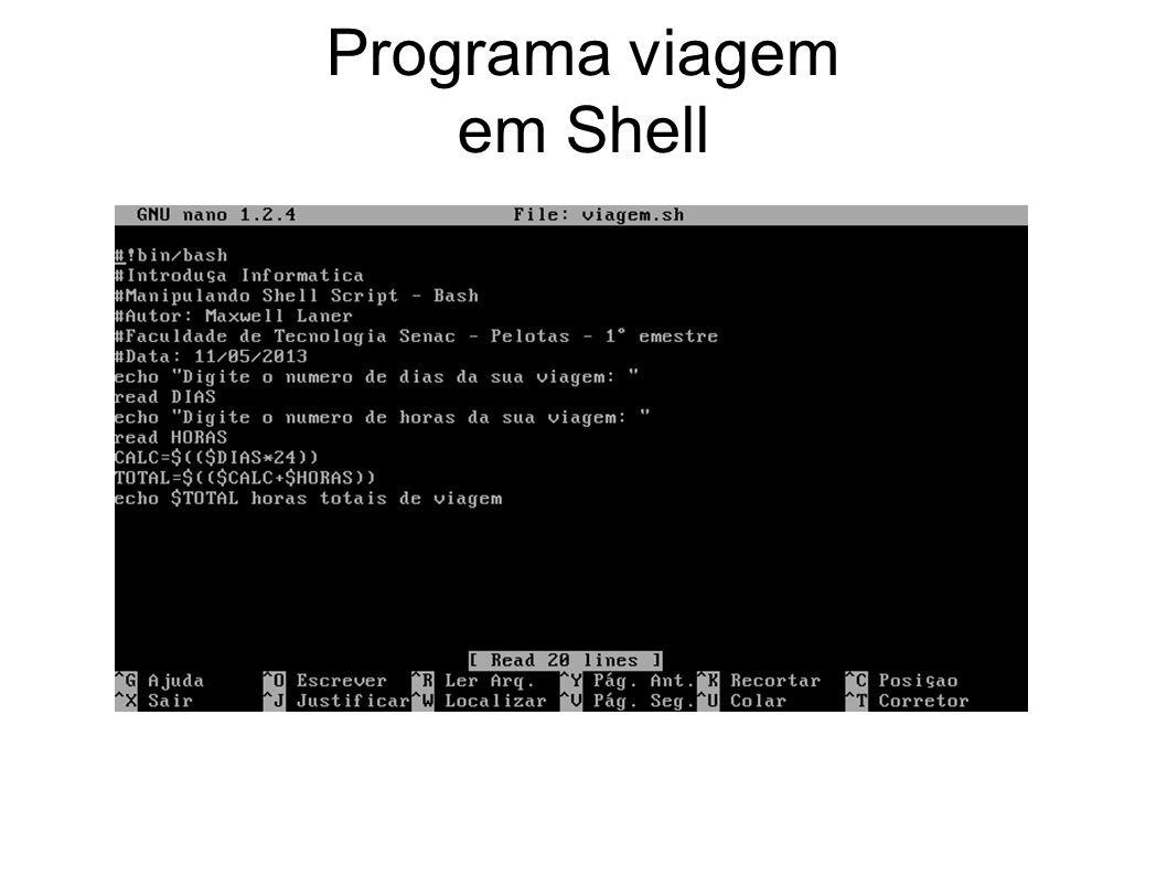 Programa viagem em Shell