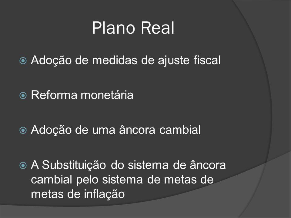 Plano Real Adoção de medidas de ajuste fiscal Reforma monetária