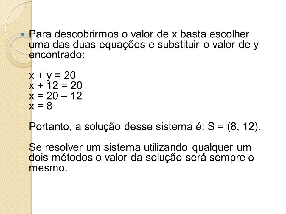 Para descobrirmos o valor de x basta escolher uma das duas equações e substituir o valor de y encontrado: x + y = 20 x + 12 = 20 x = 20 – 12 x = 8 Portanto, a solução desse sistema é: S = (8, 12). Se resolver um sistema utilizando qualquer um dois métodos o valor da solução será sempre o mesmo.