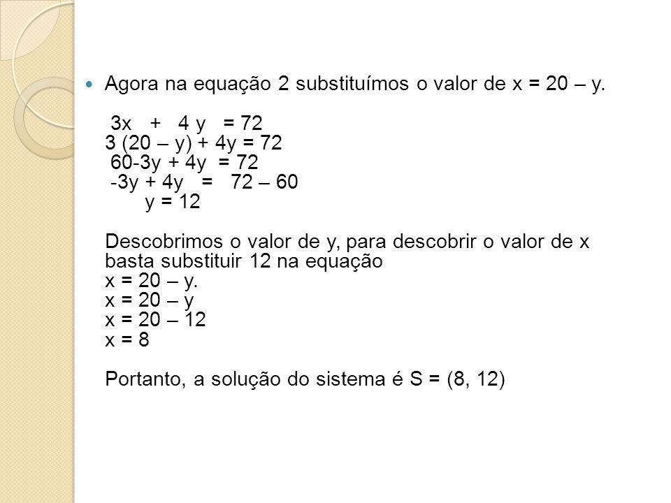 Agora na equação 2 substituímos o valor de x = 20 – y