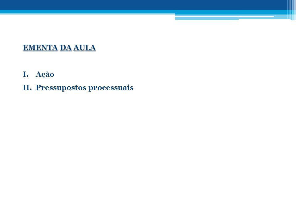 EMENTA DA AULA Ação Pressupostos processuais