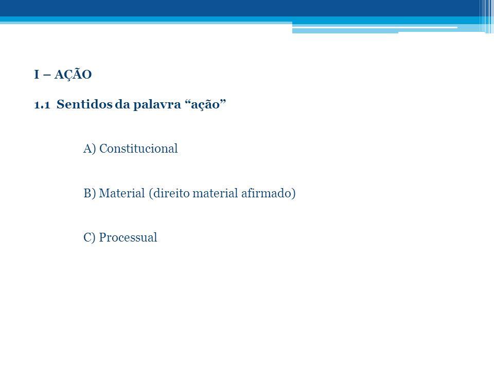 I – AÇÃO 1.1 Sentidos da palavra ação A) Constitucional. B) Material (direito material afirmado)