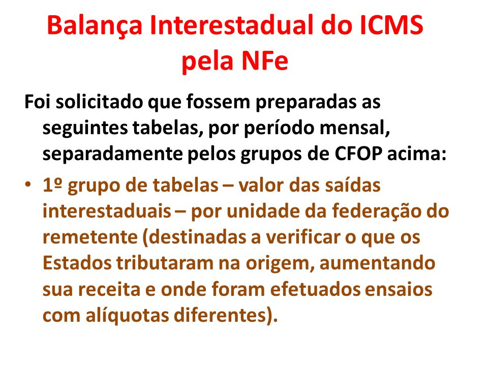 Balança Interestadual do ICMS pela NFe
