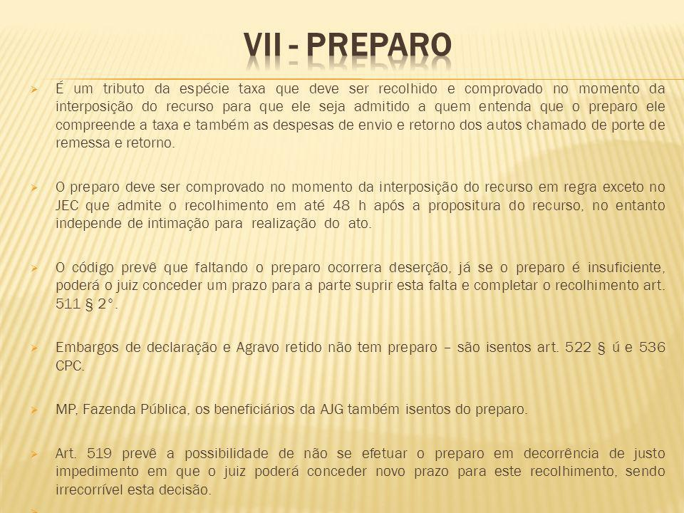 VII - Preparo