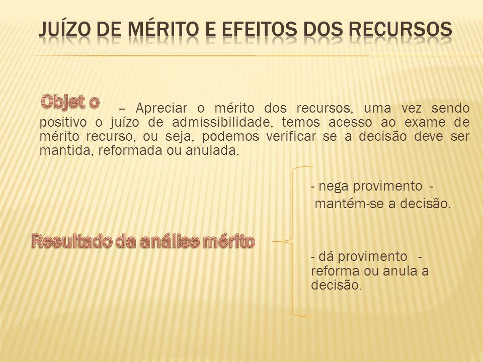 Juízo de mérito e efeitos dos recursos