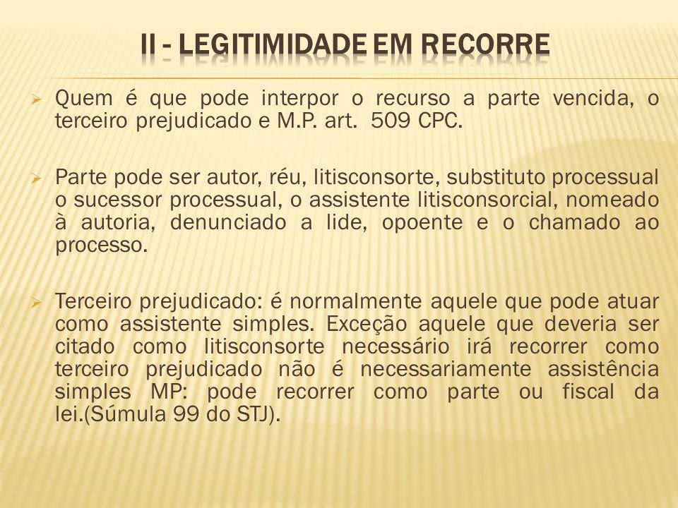 II - Legitimidade em recorre
