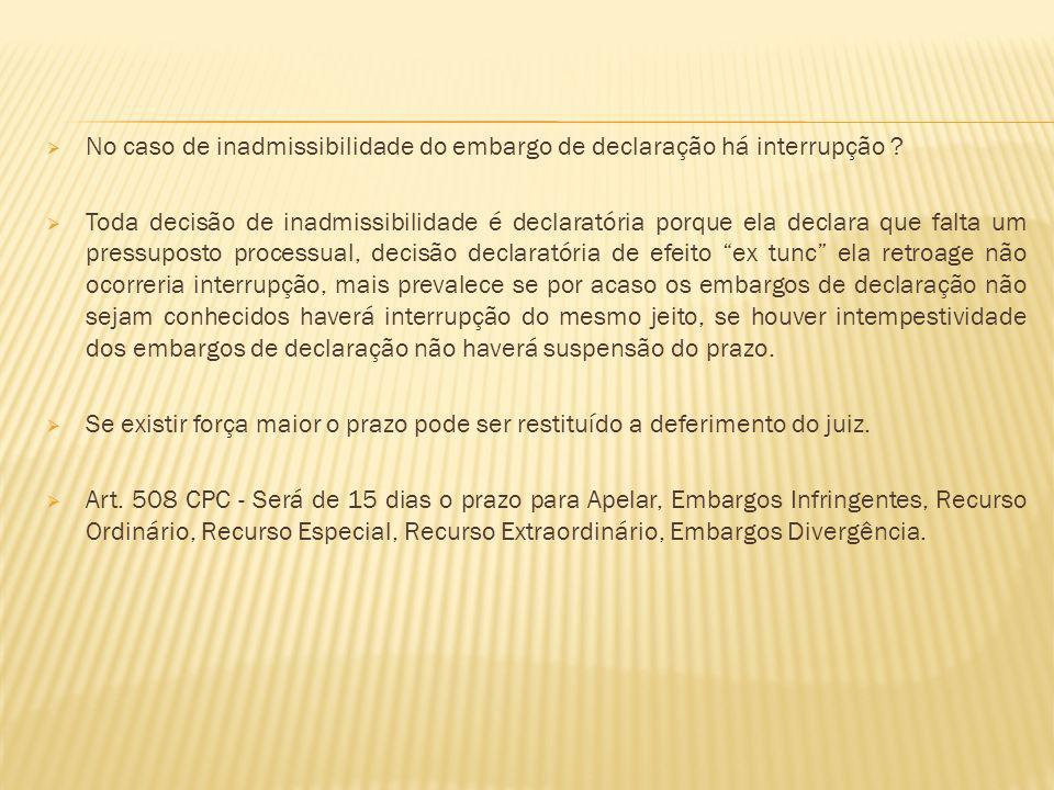 No caso de inadmissibilidade do embargo de declaração há interrupção
