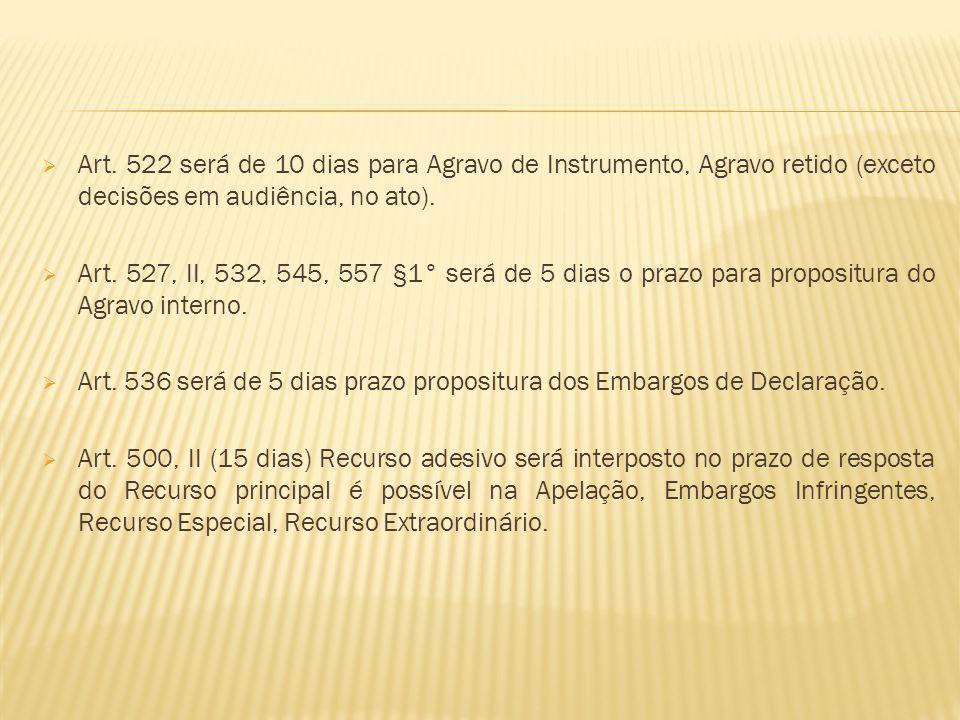 Art. 522 será de 10 dias para Agravo de Instrumento, Agravo retido (exceto decisões em audiência, no ato).