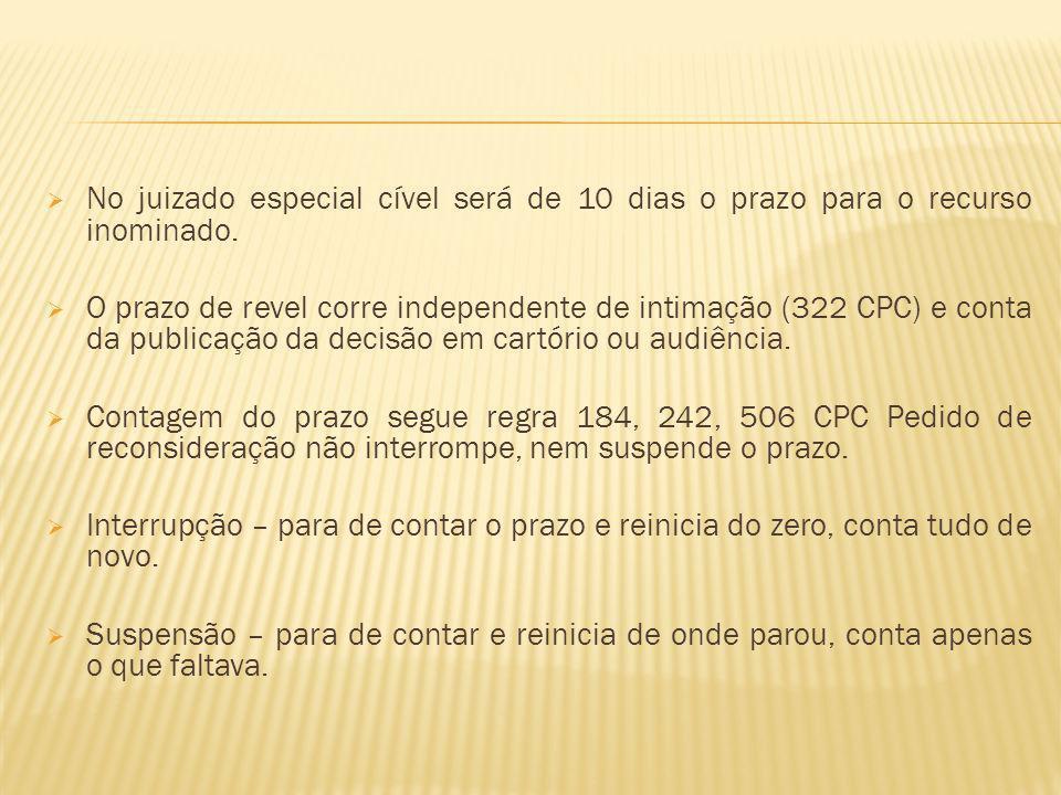 No juizado especial cível será de 10 dias o prazo para o recurso inominado.
