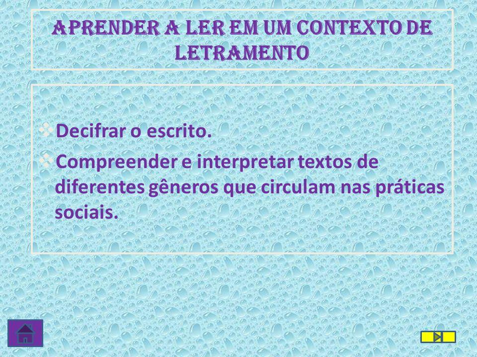 APRENDER A LER EM UM CONTEXTO DE LETRAMENTO