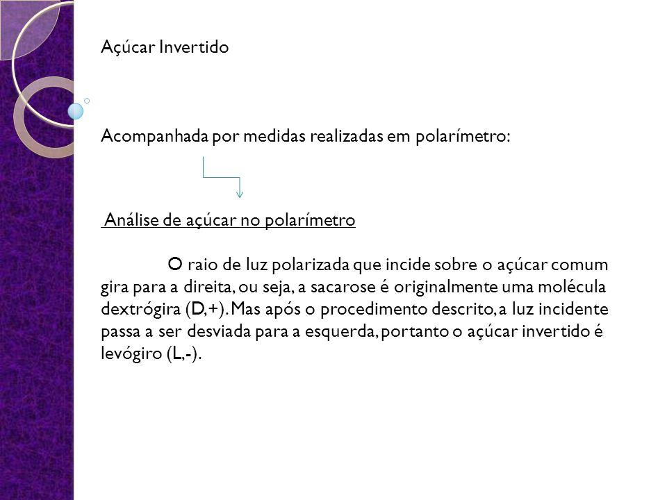 Açúcar Invertido Acompanhada por medidas realizadas em polarímetro:
